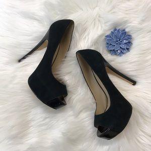 Aldo Black Suede Peep Toe Pumps/Platform Heels